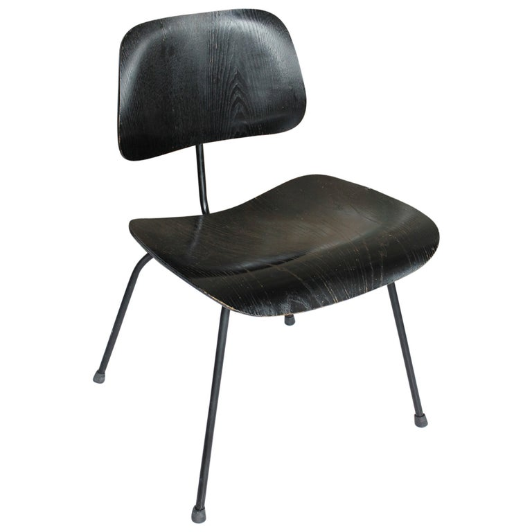 1950s All Black DCM Chair by Charles & Ray Eames for Herman Miller