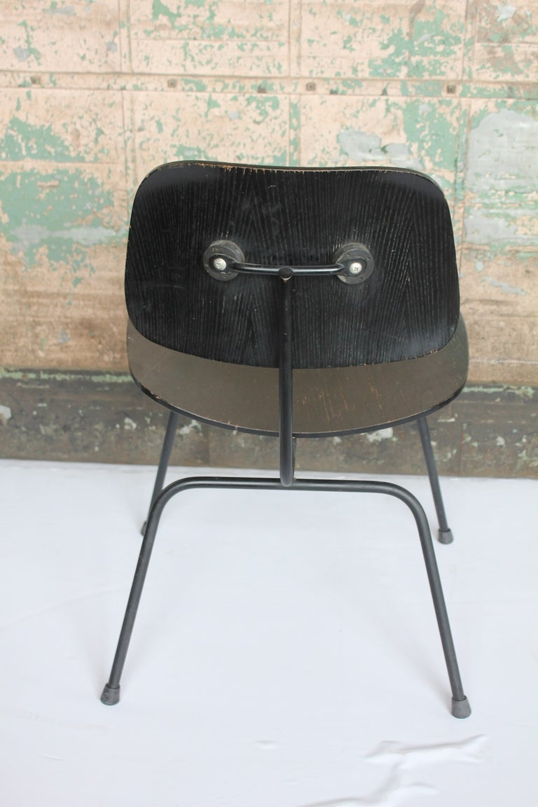 1950s all black DCM chair by Charles & Ray Eames for Herman Miller.