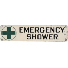 "1950s Industrial Metal "" Emergency Shower "" Sign"