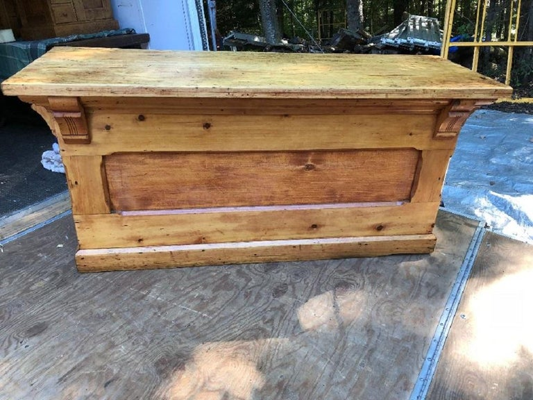 Industrial Antique Candy Store Wood Counter For Sale