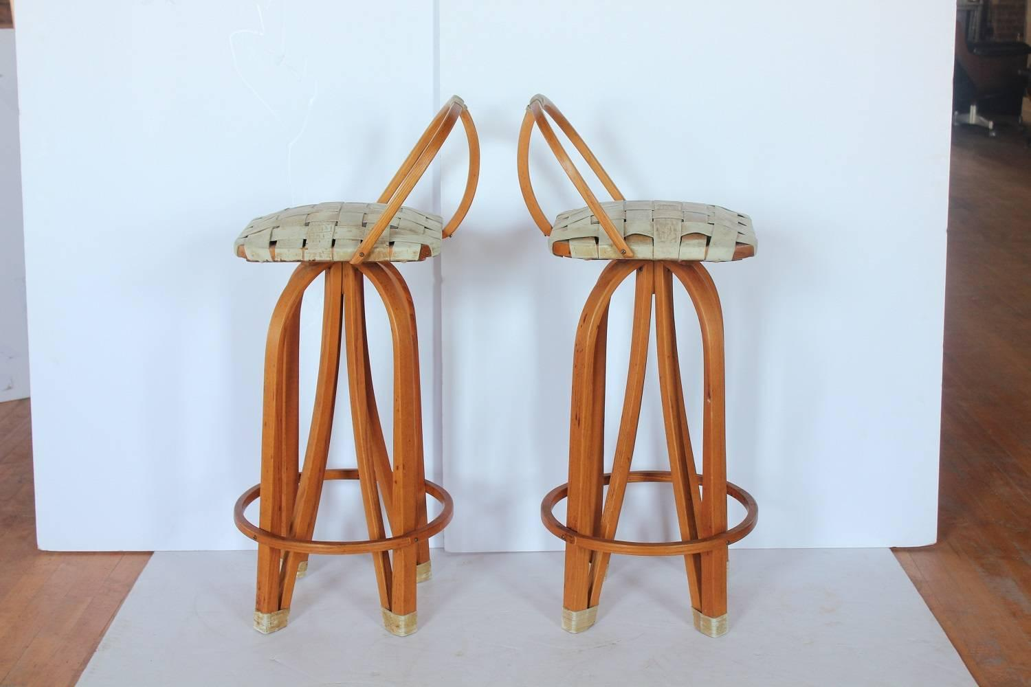 Stylish Modern Bentwood And Leather Bar Stools For Sale At