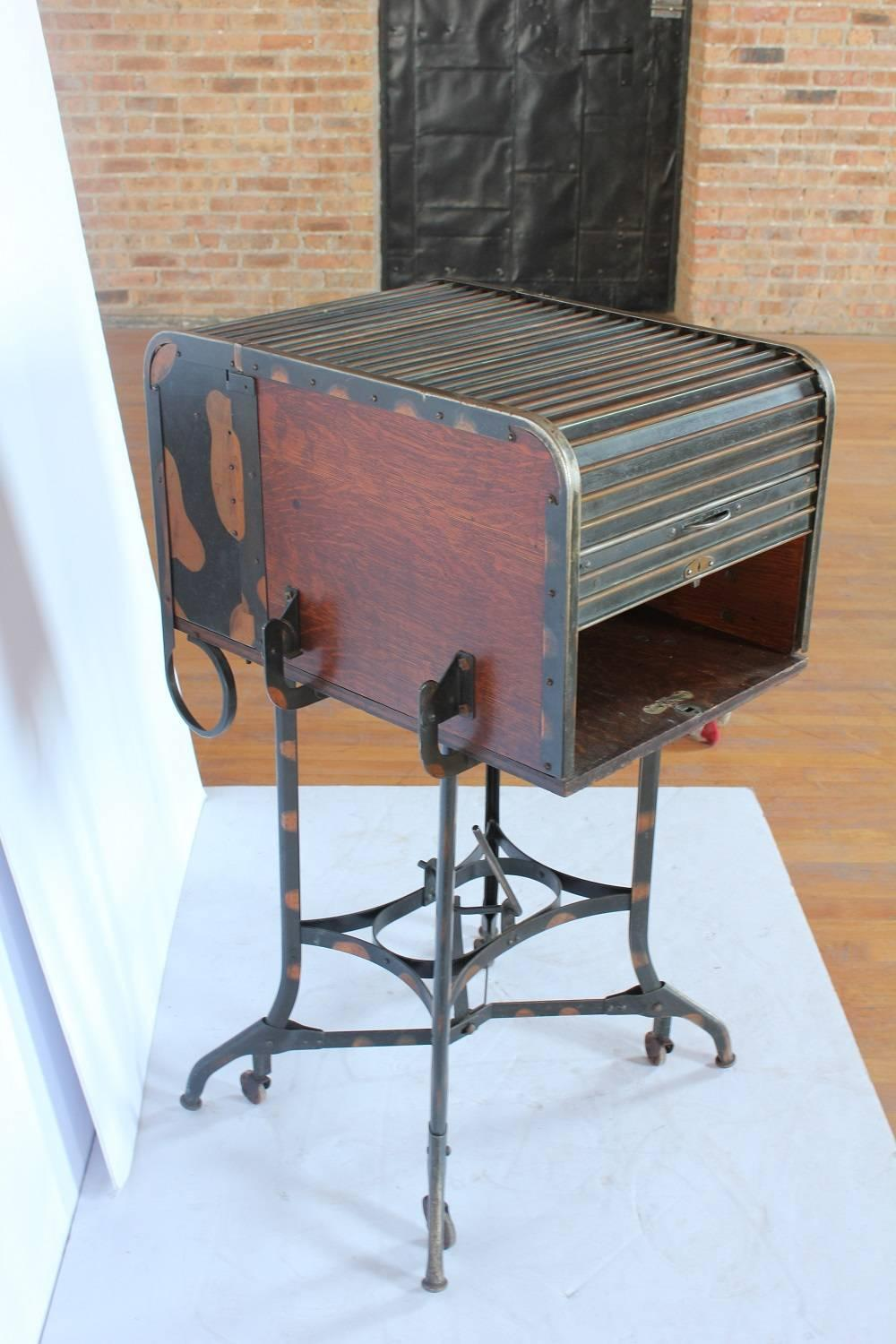 Early 1900s American Industrial Roll Top Desk Table By