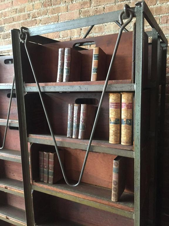 Early 20th Century American Industrial Metal and Wood Double Sided Shelves In Good Condition For Sale In Chicago, IL
