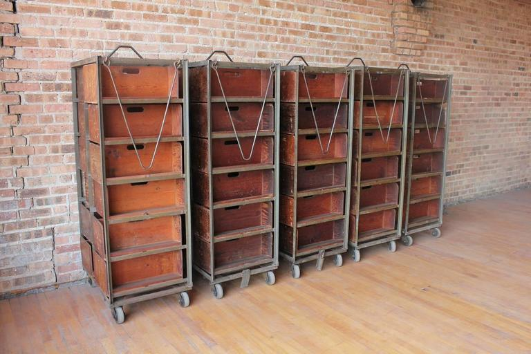 American Industrial Metal & Wood Double Sided Shelves. We have three shelves available. Listed price is for each piece. Each shelf: H 7.75