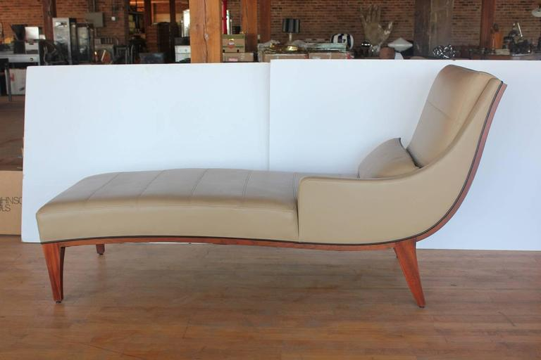 Modern leather chaise lounge by widdicomb at 1stdibs for Modern leather chaise longue