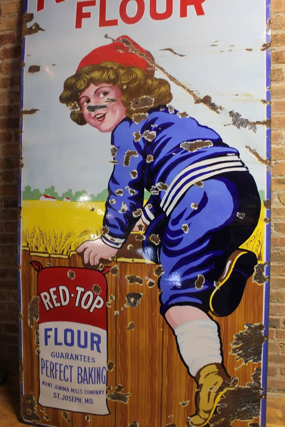 Tall Rare Antique Porcelain Advertising Sign For Quot Red Top