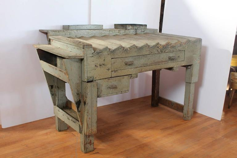 Unusual antique printer's working wood table/desk.