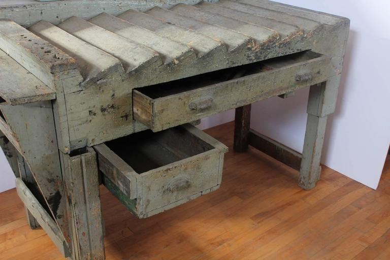 Industrial Unusual Antique Printer's Working Wood Table/Desk For Sale
