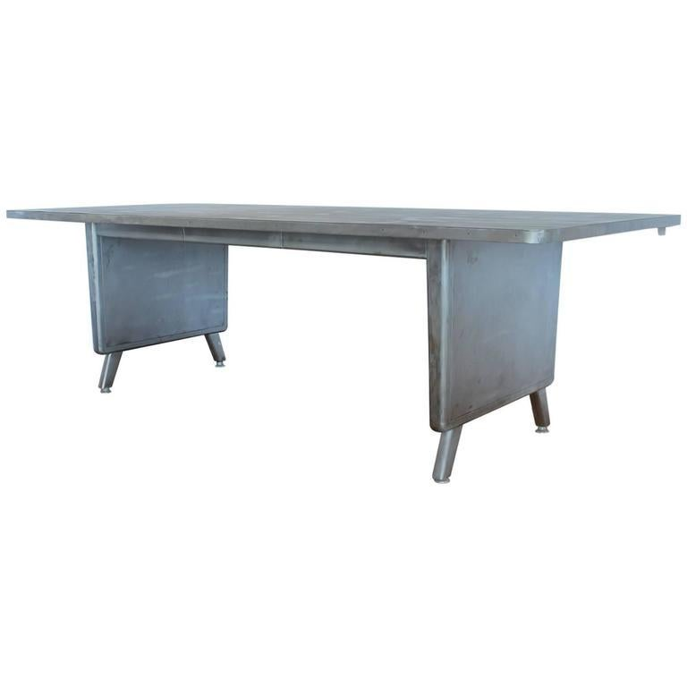American Large Machine Age Metal Desk/Dining Table For Sale