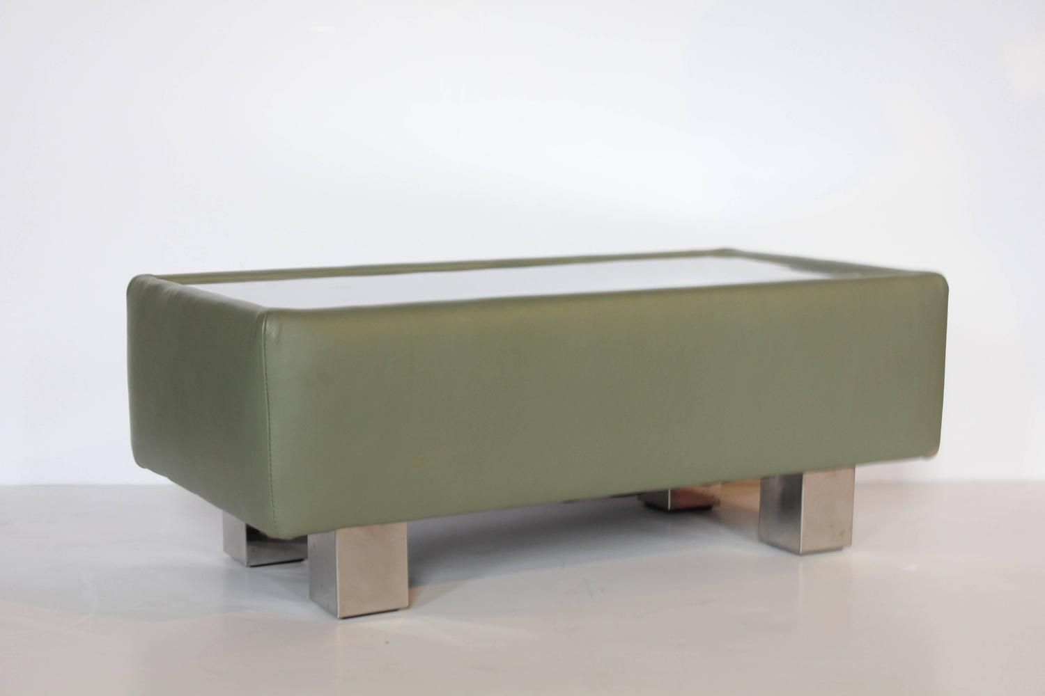 Stylish Modern Leather And Metal Ottoman Or Coffee Table For Sale At 1stdibs