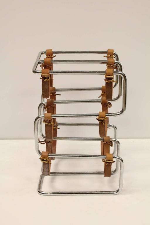 Mid-Century Modern Stylish Mid-Century Chrome and Leather Wine Rack For Sale