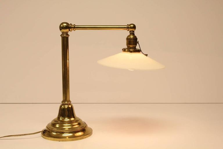 Antique Library Brass And Milk Glass Table Lamp For Sale