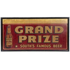 """1930's Oversized American Advertising """"Grand Prize Beer"""" Sign"""
