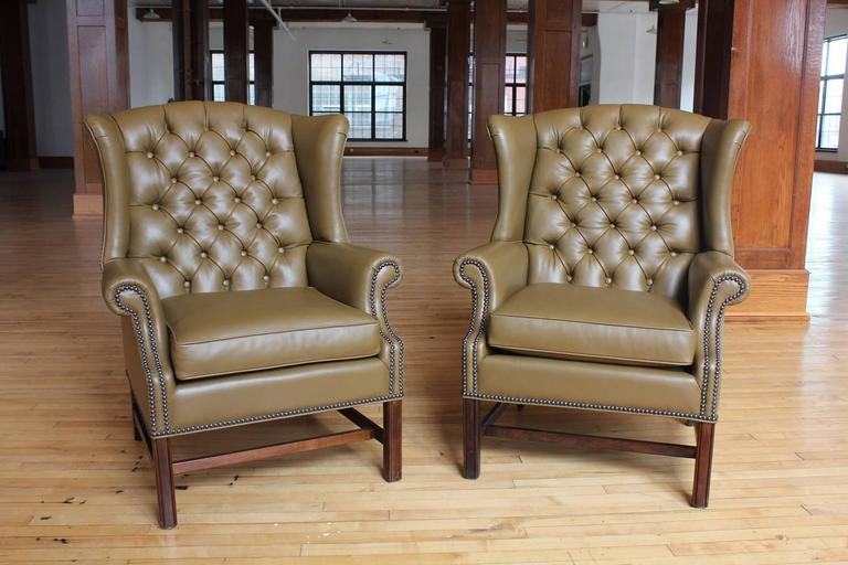 1920s American Library Tufted Leather Wing Chair. New Upholstery. Listed  Price Is For One