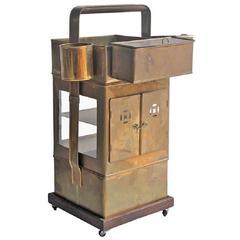 Vintage Stadium Vendor Brass Serving Cart