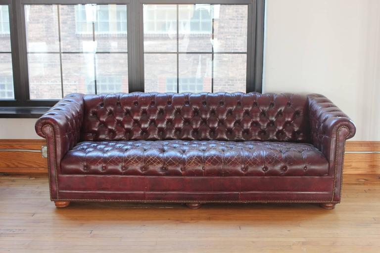 Vintage Distressed Burgundy Leather Chesterfield Sofa