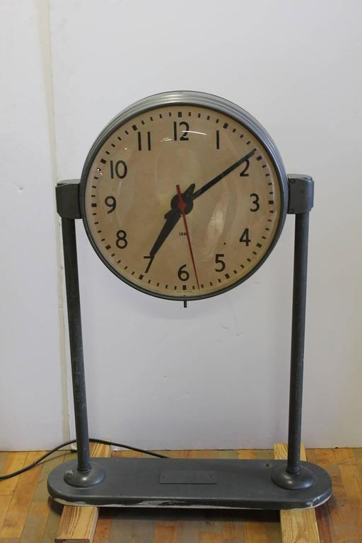 Vintage School Double Sided Clock At 1stdibs