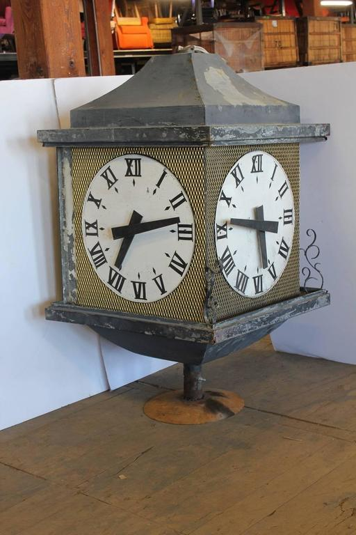 Large Antique Three Sided Outdoor Bank Clock At 1stdibs