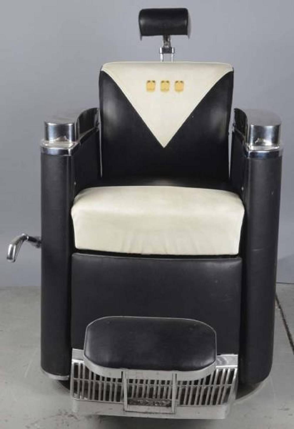 Details about antique koken barber chair talcum brush model talc art - 1950s Mad Men Era Koken President Barber Chair For Sale At 1stdibs