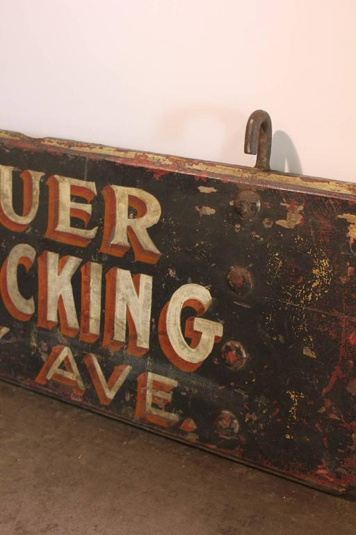 """1920s American Hand Painted Wood Sign """"General Trucking"""" 2"""