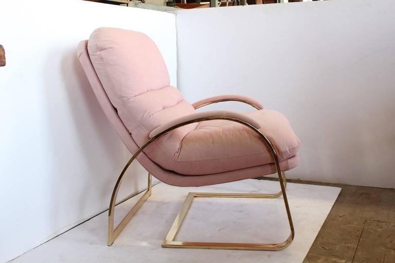 Stylish Milo Baughman style brass lounge chair. Original cotton velvet upholstery.