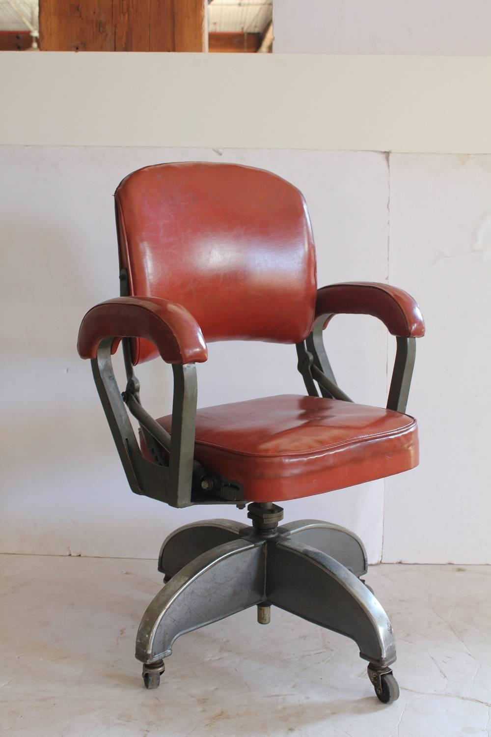 Stylish Art Deco Leather And Metal Desk Chair For Sale At