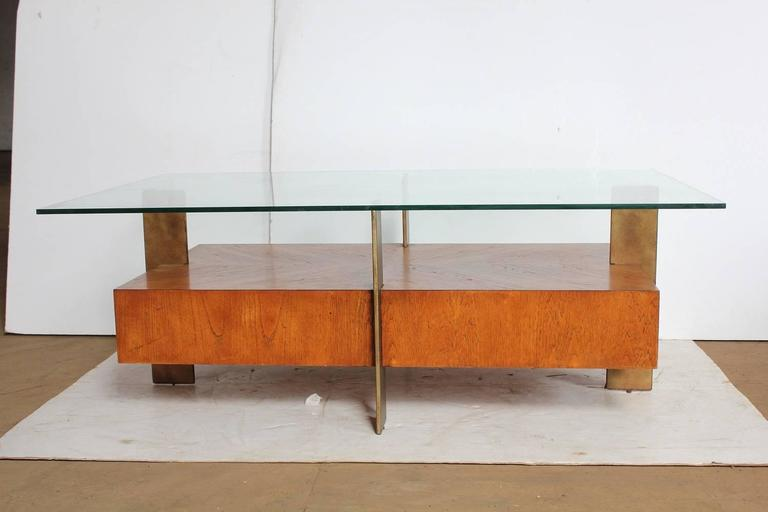 Modern Wood And Metal Coffee Table With Glass Top.