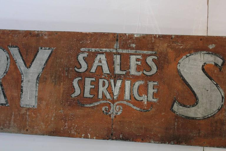 "Early 1900s American Hand-Painted Tin Sign ""Battery Service"" 2"