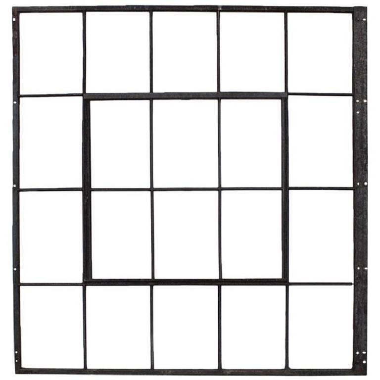 Large Antique American Industrial Metal Casement Window At