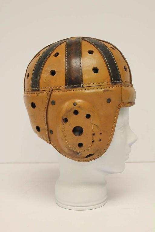 Sporting Art Antique Spalding Football Leather Helmet For Sale