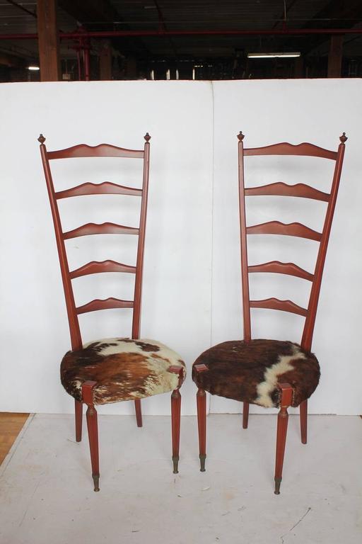 Mid Century Italian High Back Cowhide And Wood Chairs By Meroni U0026 Fossati.