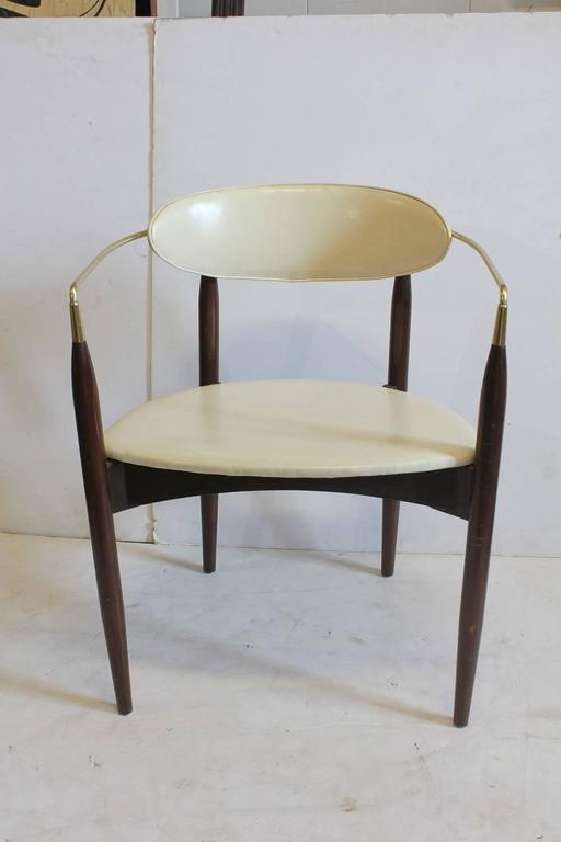 Mid Century Leather And Wood Desk Chair By Dan Johnson.