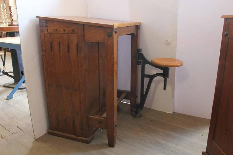 Antique American Drafting Table With Swing Out Seat At 1stdibs