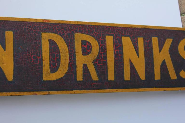Folk Art Late 19th Century Hand-Painted Wood Sign