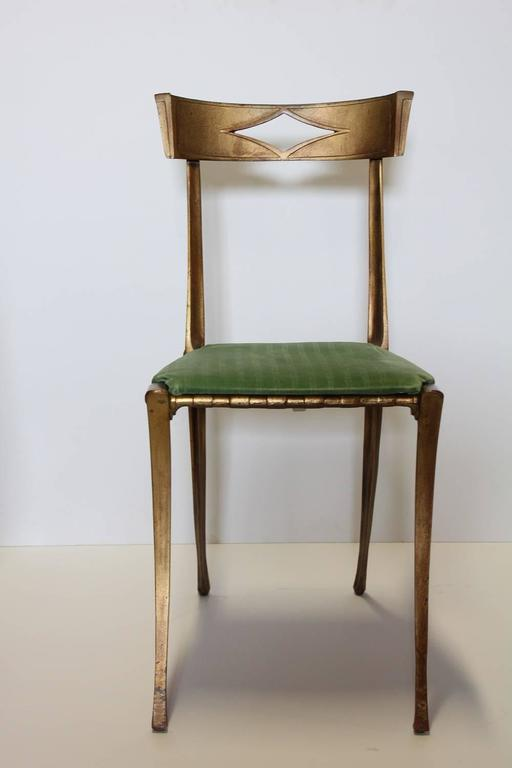 Palladio Italian Klismos neoclassical gold leaf metal chair. Two chairs available.