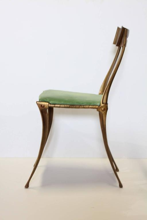 Italian Klismos Neoclassical Gold Leaf Metal Chair by Palladio In Excellent Condition For Sale In Chicago, IL