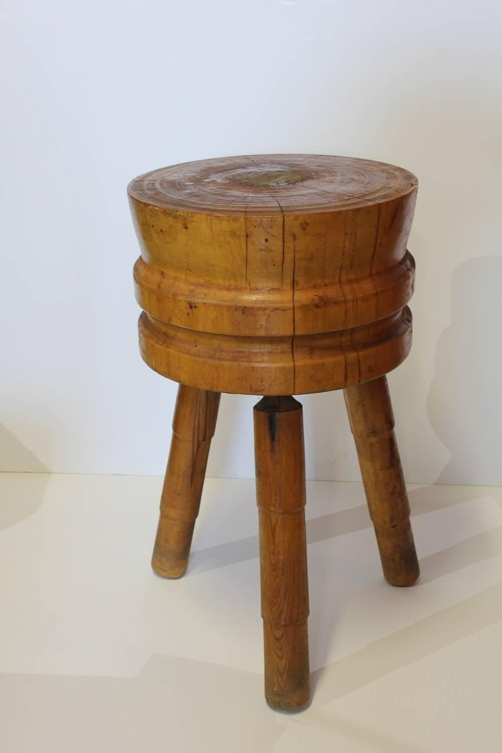 Antique Butcher Round Block Table.