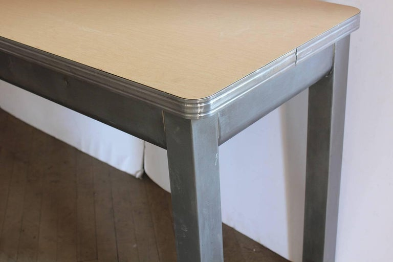 Long 1950s American School science lab metal table or console table with laminate top.