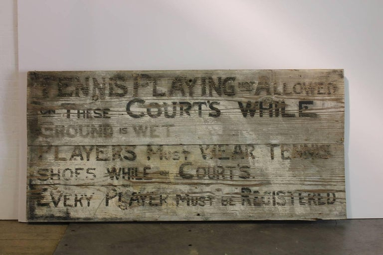 Folk Art 1920s Tennis Club Hand Painted Wood Sign  For Sale