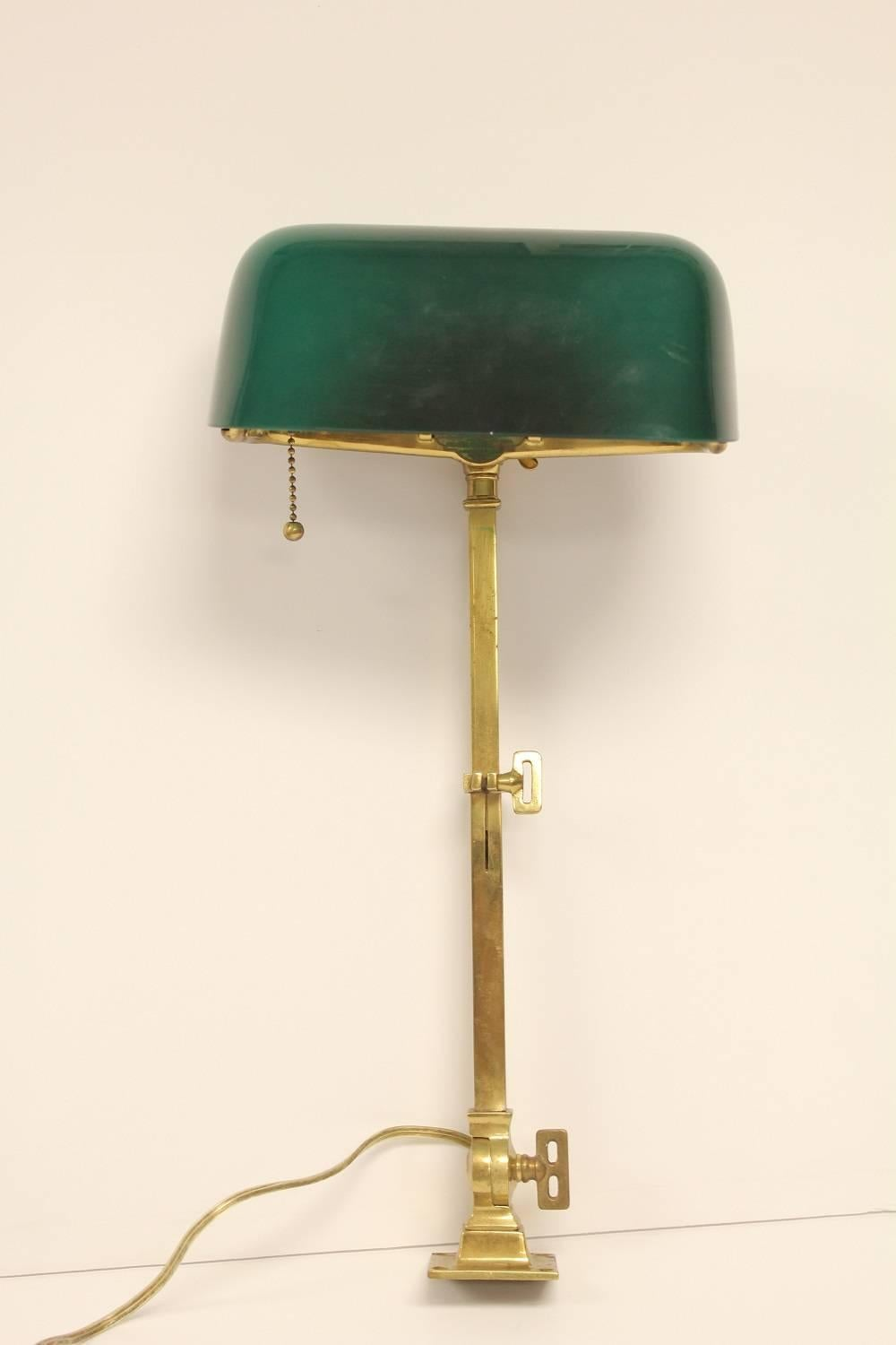 Rare 1920s American Emeralite Brass Adjustable Desk Lamp by H.G. ...