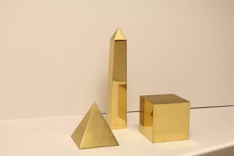 Midcentury Italian brass 3-D objects by Sarreid Ltd. They are all signed. Obelisk: 14.5