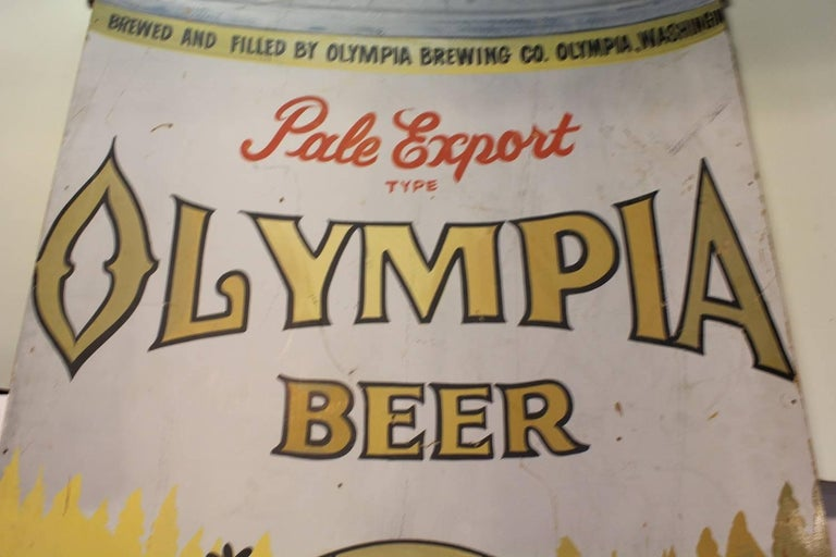 Oversized 1950s Hand-Painted Advertising Sign for Olympia