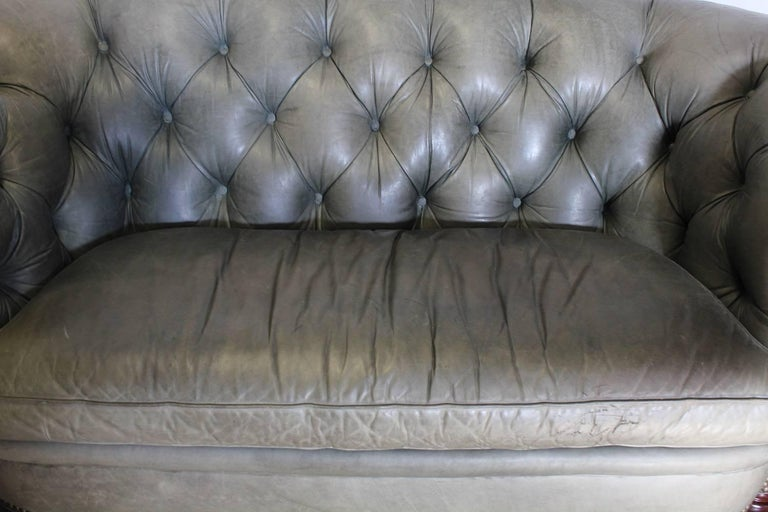 Chesterfield Tufted Leather Sofa By Han Moore In Beautiful Grayish Green Tone It Has