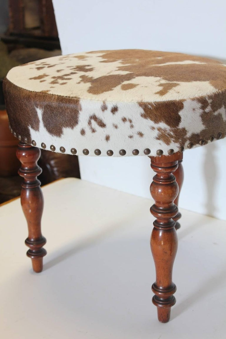 Cowhide Barstools Vintage Black White Hairhide Leather Bar: Antique English Cowhide And Wood Stools For Sale At 1stdibs