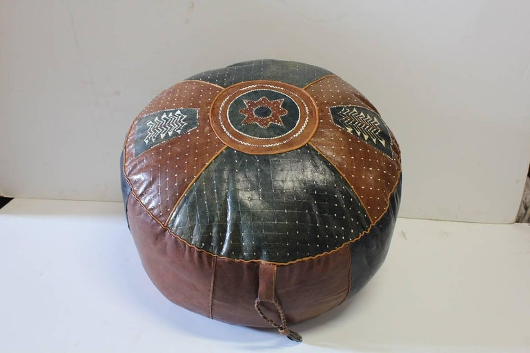 Mid Century Moroccan Hand Stitched Leather Pouf