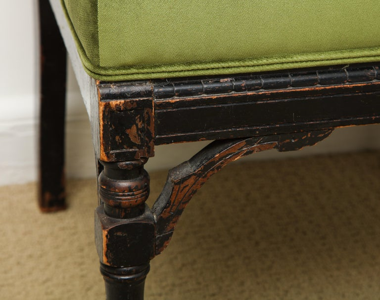 Carved 19th Century Medieval Green Velvet Chair For Sale