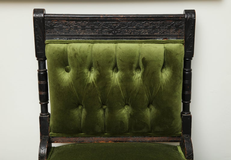 18th Century and Earlier 19th Century Medieval Green Velvet Chair For Sale
