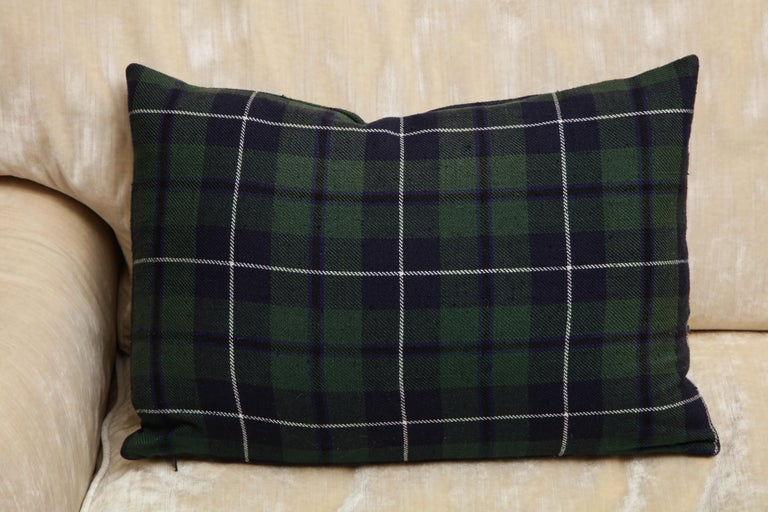 Black Forest Tartan Pillows Associated to Clan Urquhart from Scotland For Sale