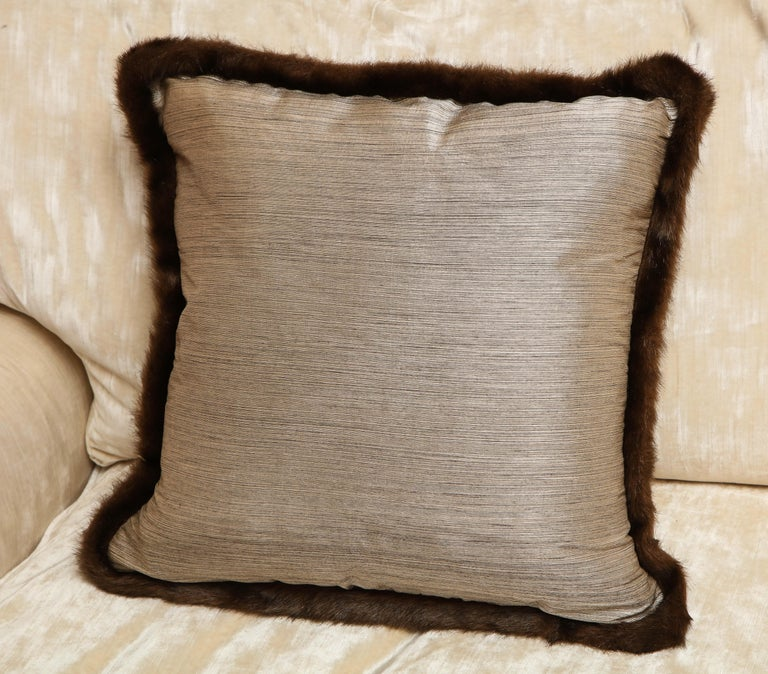 Silk and Fur Anglo-Japanese Pillow In Excellent Condition For Sale In New York, NY