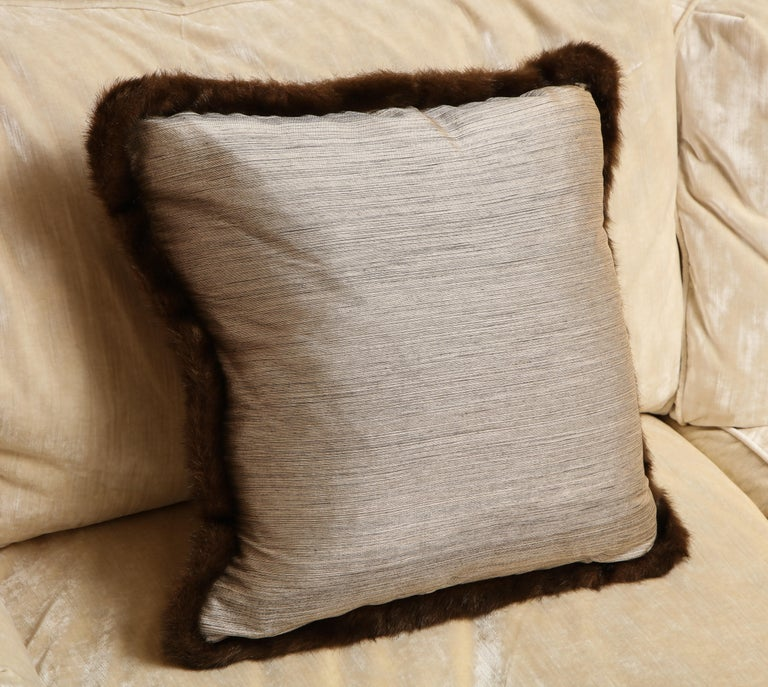 Contemporary Silk and Fur Anglo-Japanese Pillow For Sale